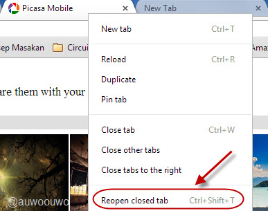 re open closed tab chrome