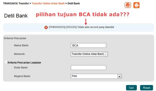 Tidak ada pilihan BCA