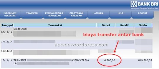 Biaya transfer antar bank