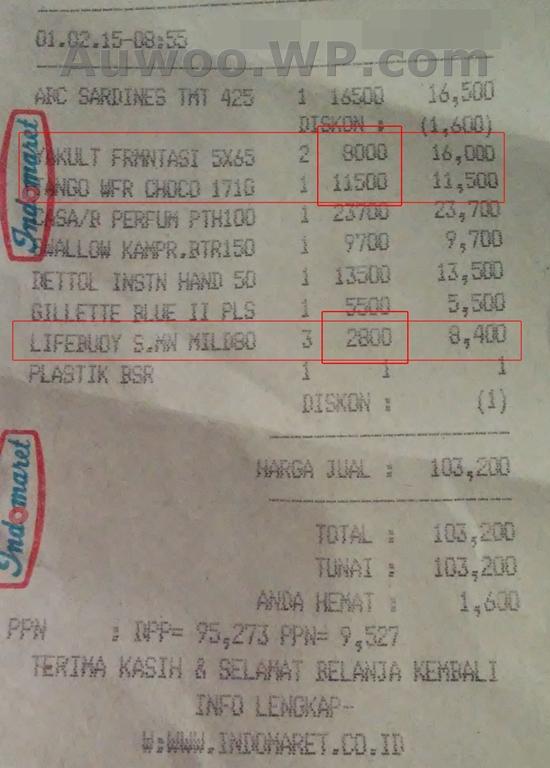 Struk belanja Indomaret