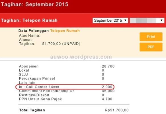 Tagihan Telpon September 2015
