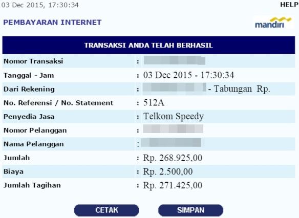 tagihan pembayaran indihome desember 2015