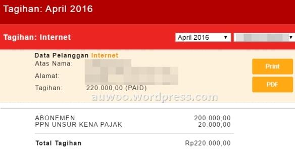 Tagihan Internet April 2016