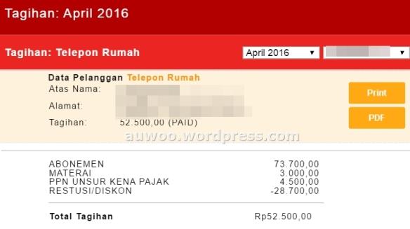 Tagihan telpon rumah april 2016