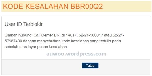 internet banking BRI terblokir