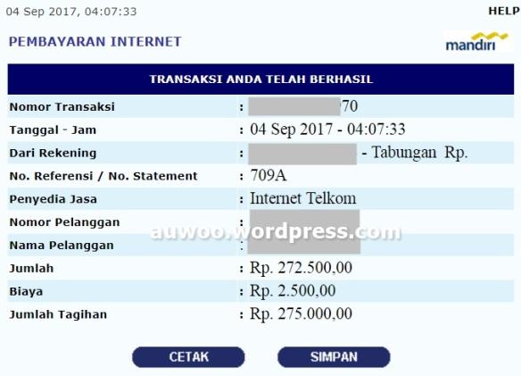 Laporan Tagihan indihome september 2017